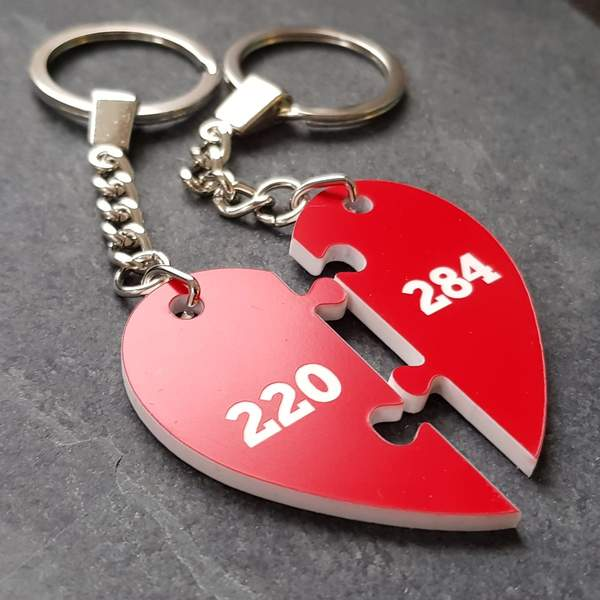 Amicable numbers heart keyring valentines